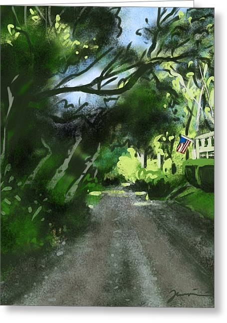 Country Dirt Roads Drawings Greeting Cards - Bay Shore Drive Greeting Card by Jean Pacheco Ravinski
