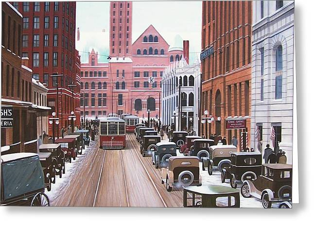 Bay Street Christmas Eve 1924 Greeting Card by Kenneth M  Kirsch