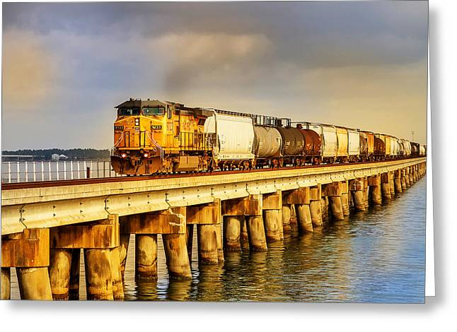 Train On Bridge Greeting Cards - Bay Train Greeting Card by Jeannie Meyer