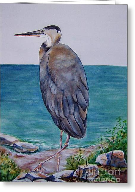 Blue Paintings Greeting Cards - Bay Watcher Greeting Card by Betty Pinkston