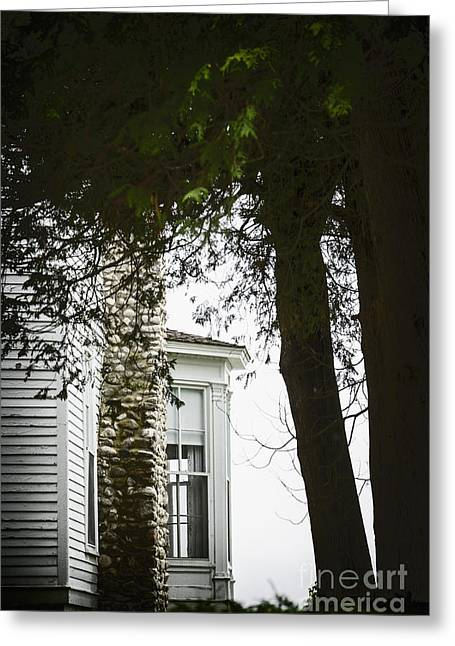 Stone Chimney Greeting Cards - Bay Window Greeting Card by Margie Hurwich