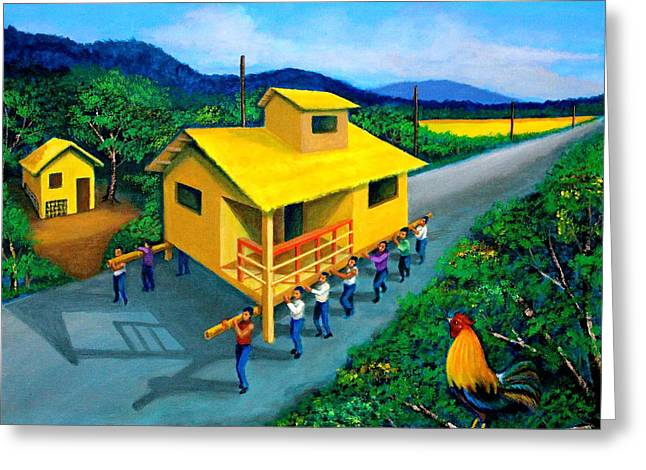 Bamboo House Greeting Cards - Bayanihan Greeting Card by Cyril Maza