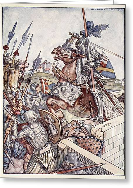 Defend Greeting Cards - Bayard Defends The Bridge, Illustration Greeting Card by Herbert Cole