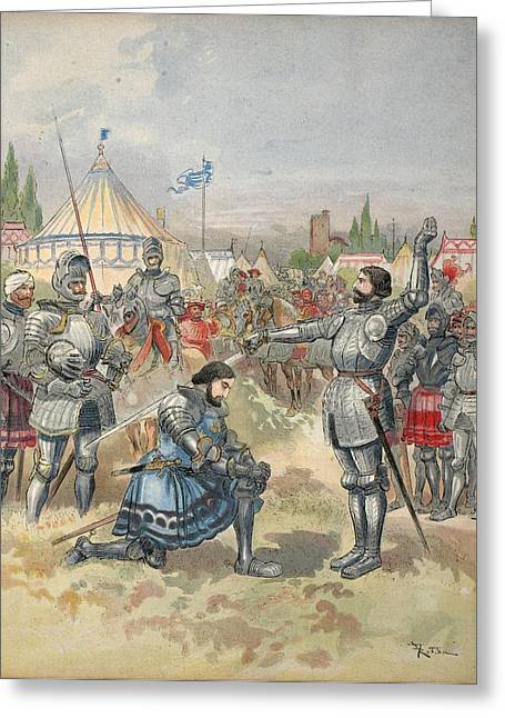 Francois Greeting Cards - Bayard Knighting Francis I Greeting Card by Albert Robida