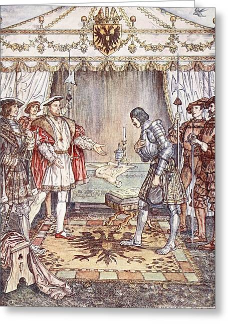 Knighting Drawings Greeting Cards - Bayard Presented To Henry Viii Greeting Card by Herbert Cole