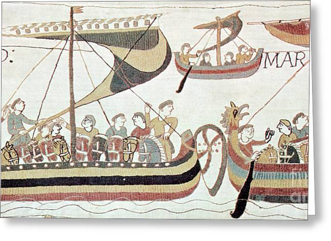 Medieval Tapestries Greeting Cards - Bayeux Tapestry Scene Greeting Card by Science Source