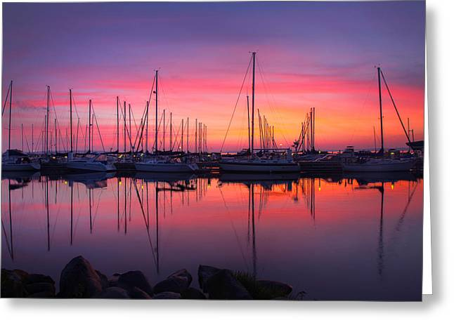 Sailboat Art Greeting Cards - Bayfield Wisconsin Magical Morning Sunrise Greeting Card by Wayne Moran