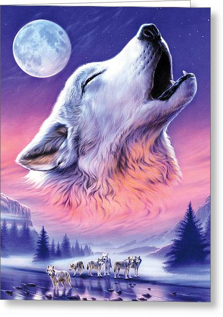 Wolf Moon Greeting Cards - Baying to the Moon Greeting Card by Andrew Farley