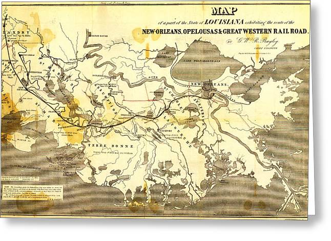 Old Map Paintings Greeting Cards - Bayleys Map of Louisiana railroads  1853 Greeting Card by Celestial Images