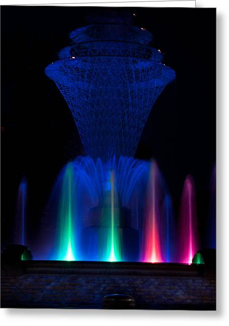 Bayliss Greeting Cards - Bayliss Park Fountain Greeting Card by Becky Meyer