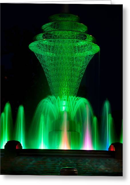 Bayliss Greeting Cards - Bayliss Park Fountain Green Greeting Card by Becky Meyer