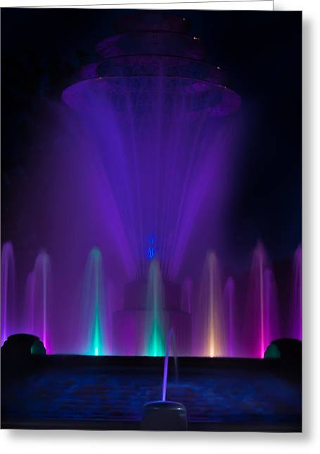Bayliss Greeting Cards - Bayliss Park Fountain purple Greeting Card by Becky Meyer