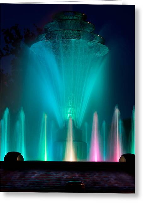Bayliss Greeting Cards - Bayliss Park Fountain Turquiose Greeting Card by Becky Meyer