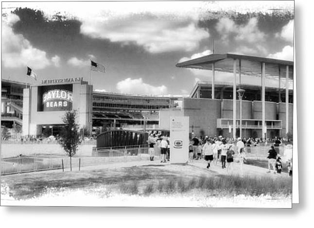 College Spirit Greeting Cards - Baylor Gameday -- BW Greeting Card by Stephen Stookey