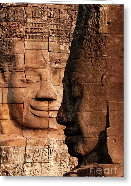 Southeast Asian Greeting Cards - Bayon Faces 02 Greeting Card by Rick Piper Photography