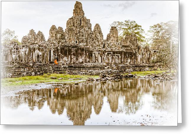Ancient Ruins Greeting Cards - Bayon Temple Greeting Card by Alexey Stiop