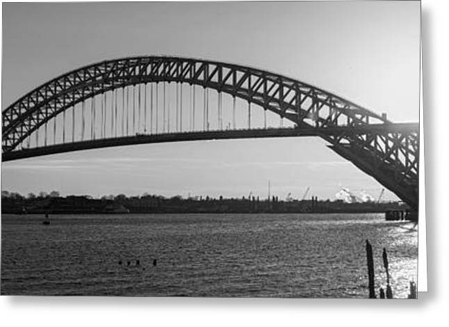 Ver Sprill Photographs Greeting Cards - Bayonne Bridge Panorama BW Greeting Card by Michael Ver Sprill
