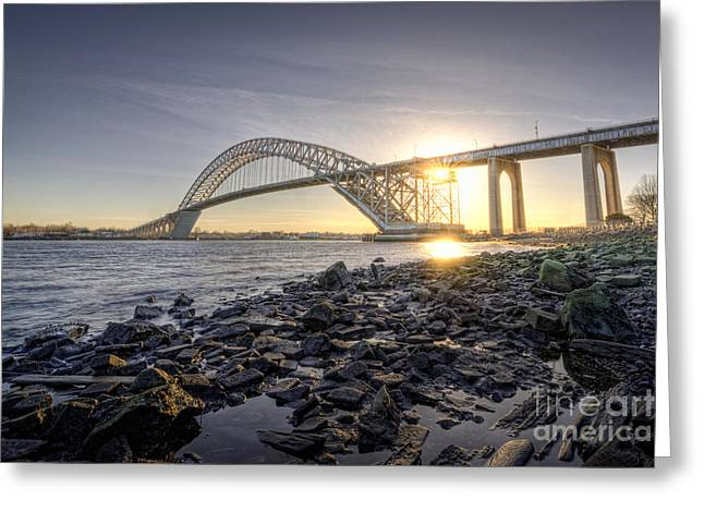 Ver Sprill Photographs Greeting Cards - Bayonne Bridge Sunset Greeting Card by Michael Ver Sprill