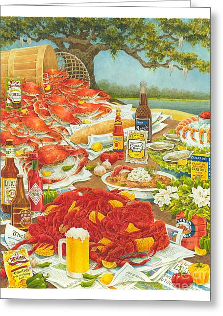 Crawfish Beer Greeting Cards - Bayou Banquet II Greeting Card by Joyce Hensley