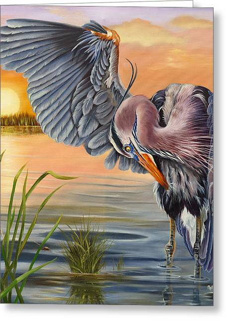 Wadingbird Greeting Cards - Bayou Blues Greeting Card by Phyllis Beiser