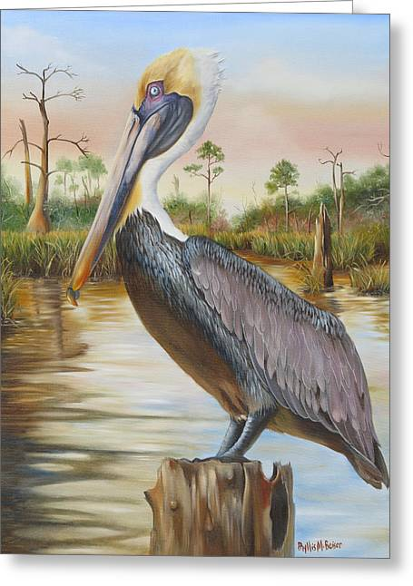 Phyllis Beiser Greeting Cards - Bayou Coco Point Pelican Greeting Card by Phyllis Beiser