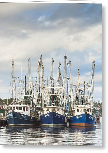 Reflections Of Sky In Water Greeting Cards - Bayou LaBatre AL Shrimp Boat Trio In Harbor Greeting Card by Jay Blackburn