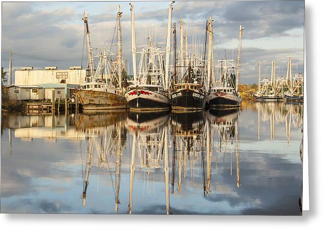 Recently Sold -  - Reflections Of Sky In Water Greeting Cards - Bayou LaBatre Shrimp Boat Reflections 22 Greeting Card by Jay Blackburn