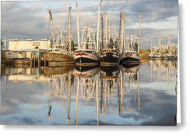 Bayou Labatre' Shrimp Boat Reflections 22 Greeting Card by Jay Blackburn