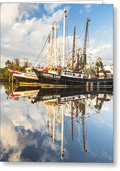 Recently Sold -  - Reflections Of Sky In Water Greeting Cards - Bayou LaBatre Shrimp Boat Reflections 35 Greeting Card by Jay Blackburn