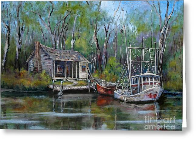 Landscape Artist Greeting Cards - Bayou Shrimper Greeting Card by Dianne Parks