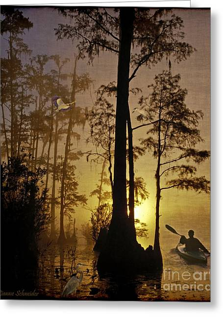 Landscape Framed Prints Greeting Cards - Bayou Sunrise Greeting Card by Lianne Schneider