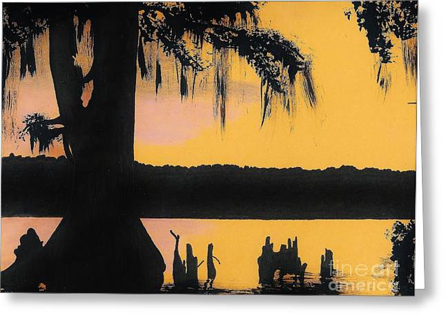 Moss Drawings Greeting Cards - Bayou Sunset Greeting Card by D Hackett