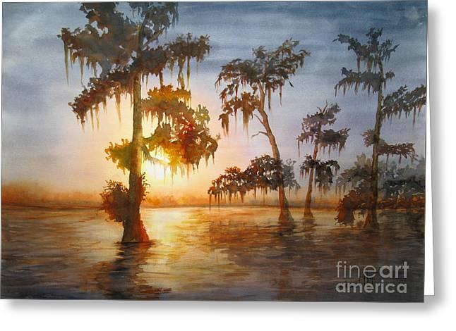 Algae Paintings Greeting Cards - Bayou Sunset Greeting Card by Mohamed Hirji