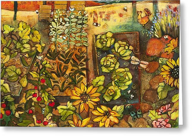 Recently Sold -  - Fruit Tree Art Greeting Cards - Backyard Organic Garden Greeting Card by Jen Norton