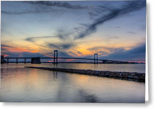 Robert Moses Greeting Cards - Bayside Sunset Greeting Card by David Hahn