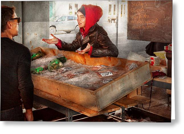 Amsterdam Market Greeting Cards - Bazaar - I sell fish  Greeting Card by Mike Savad