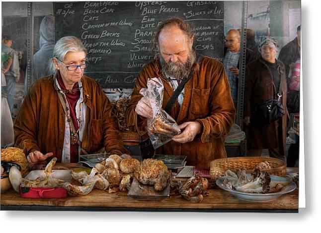 Bazaar - We sell fresh mushrooms Greeting Card by Mike Savad