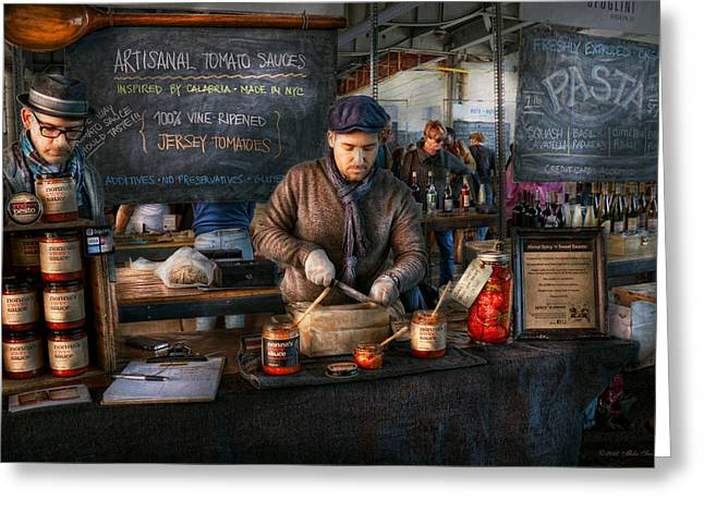 Store Fronts Greeting Cards - Bazaar - We sell tomato sauce  Greeting Card by Mike Savad