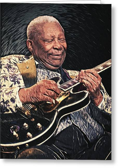 U2 Greeting Cards - B.B. King II Greeting Card by Taylan Soyturk