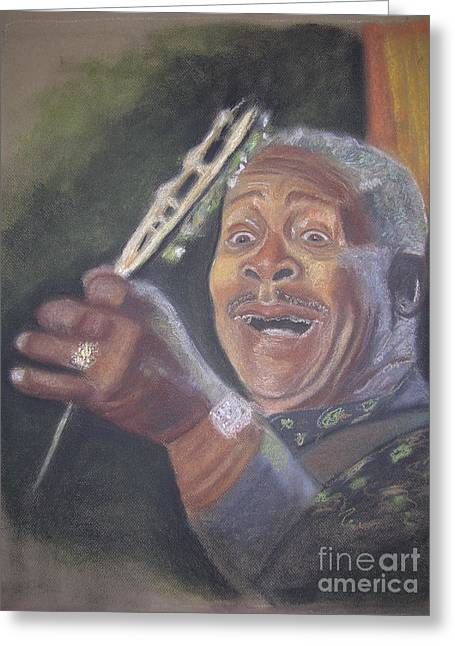 African-american Pastels Greeting Cards - B.B. King Greeting Card by JackieO Kelley