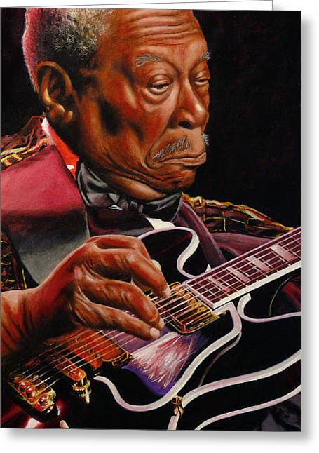 Lucille Greeting Cards - BB King Greeting Card by Marlon Huynh