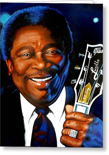 Editorial Paintings Greeting Cards - BB King Painting Greeting Card by Robert Korhonen