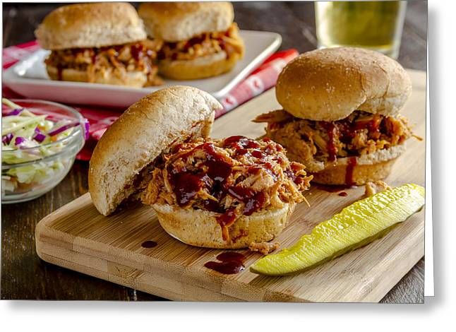 Pulled Pork Barbecue Greeting Cards - BBQ for Dinner Greeting Card by Teri Virbickis