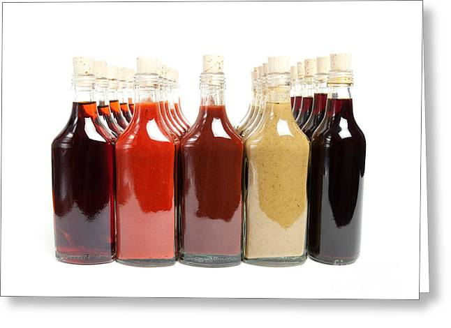 Vinegar Greeting Cards - BBQ hot sauces Greeting Card by Sinisa Botas