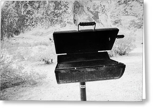 Barbeque Greeting Cards - Bbq Stand At The Campsite Area Valley Of Fire State Park Nevada Usa Greeting Card by Joe Fox