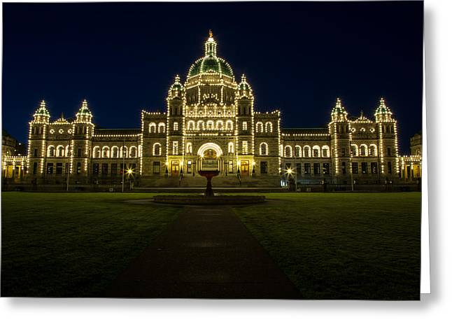 Victoria Johns Greeting Cards - BC Legislature Blue Hour Greeting Card by John Daly