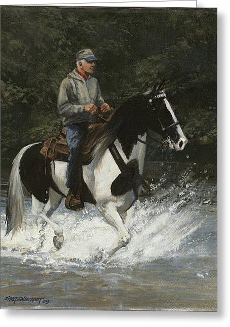 Spotted Horse Greeting Cards - Big Creek Man on Spotted Horse Greeting Card by Don  Langeneckert