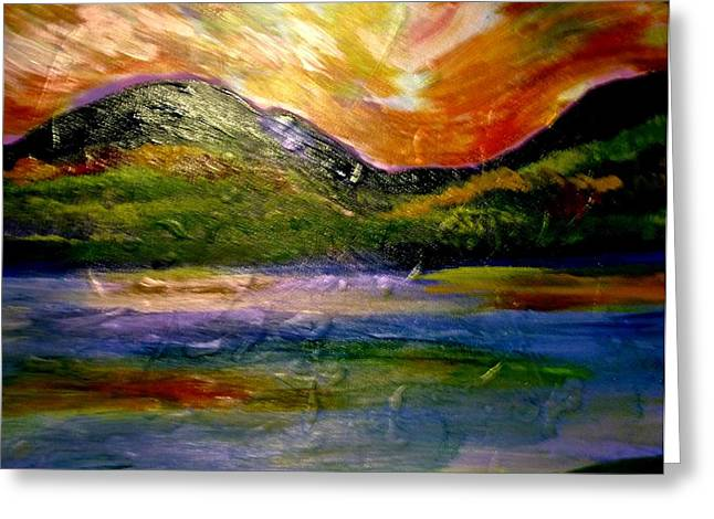 British Columbia Mixed Media Greeting Cards - BC Mountain Greeting Card by Karen Colville
