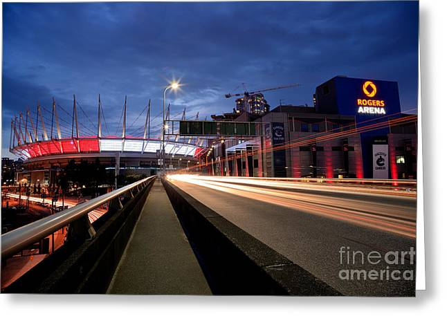Vancouver At Night Greeting Cards - Bc Place Stadium And Rogers Arena Greeting Card by Terry Elniski