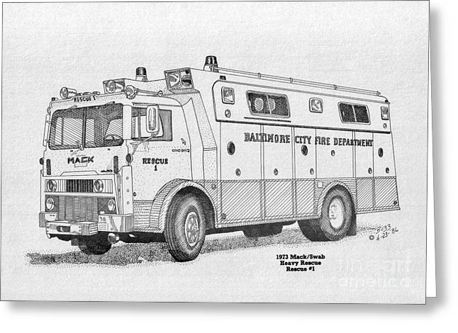 Rescue Drawings Greeting Cards - BCPD Rescue 1 Greeting Card by Calvert Koerber